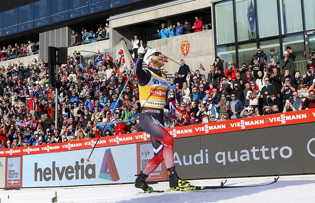 OSLO  20170311. Holmenkollen skifestival. Martin Johnsrud Sundby gÂr inn til 1.plass under langrenn 50 km. klassisk, menn.  Foto: Berit Roald / NTB scanpix